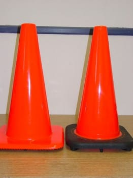 Compare our competitor's cone (Left) with our heavy duty, sturdier cone (Right) with a bonded base.