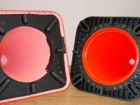 Compare the inside of the competitor's painted cone with the IDEA heavy duty base cone that is solid color.